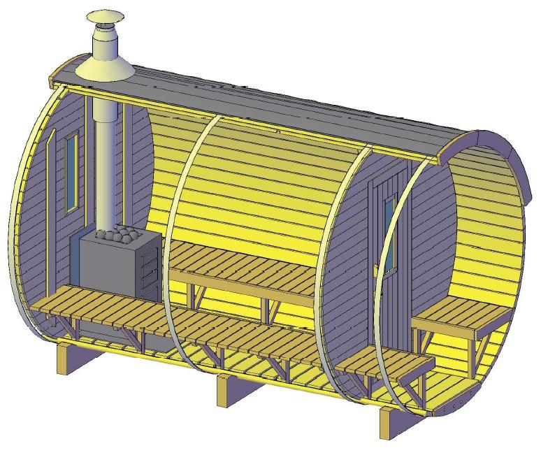 Barrique Sauna 3,50 m diamètre 220